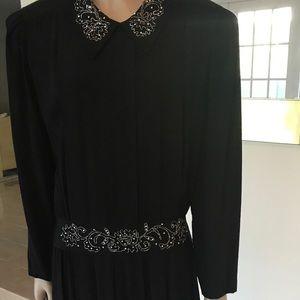 Vintage Karin Steven Long Black Evening Dress 12